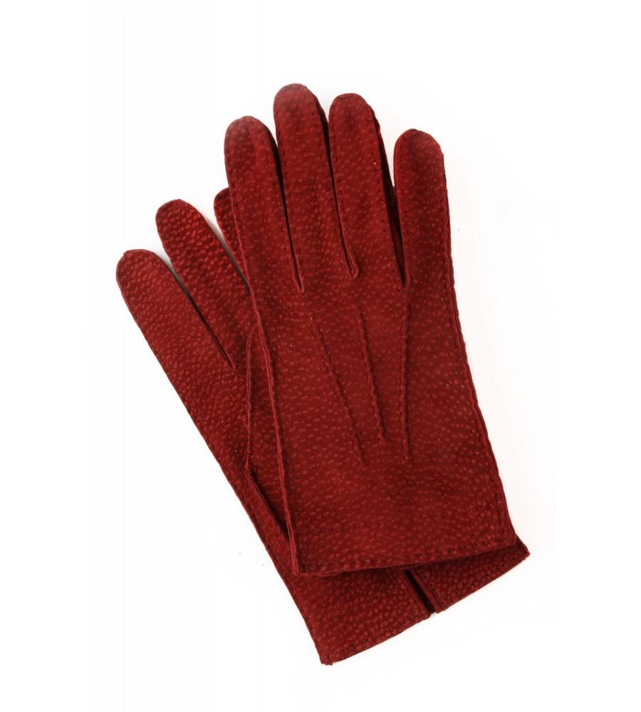 Guanti da uomo   Peccary modello sfoderato colore rosso 8c1ad394e9bf